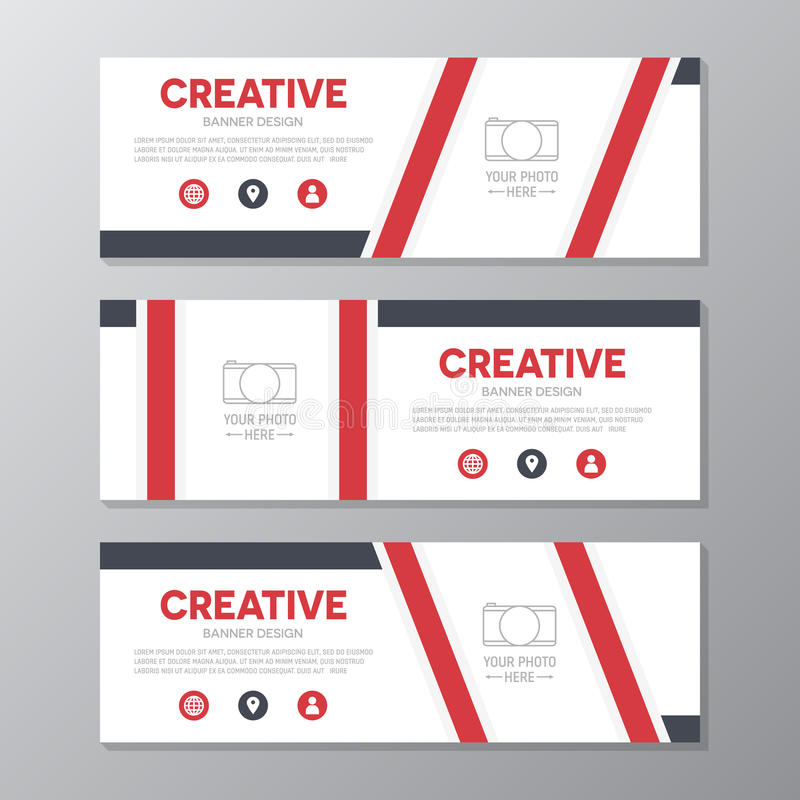 Plantilla roja de la bandera del negocio corporativo, sistema horizontal del diseño de la plantilla de la disposición de la bande ilustración del vector