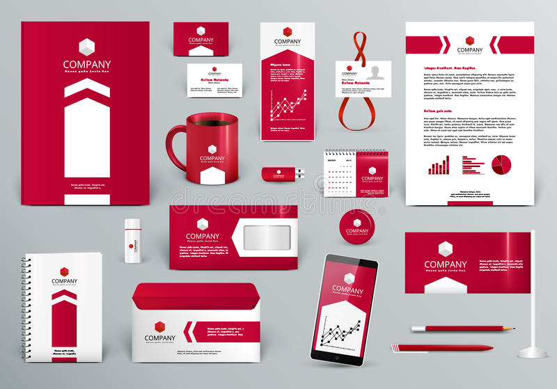 Plantilla roja de la identidad corporativa con la flecha libre illustration
