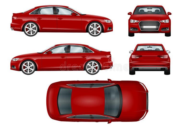 Plantilla roja del vector del coche deportivo ilustración del vector