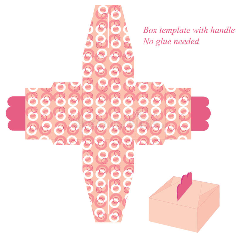 Plantilla rosada de la caja con los círculos stock de ilustración