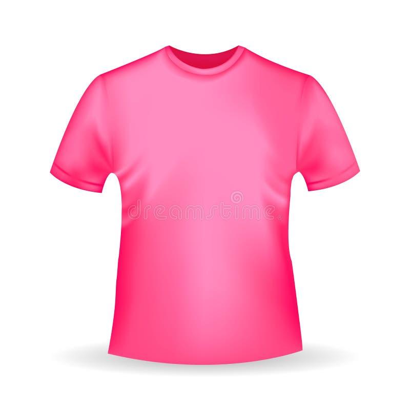 Plantilla rosada de la camiseta en estilo realista en el fondo blanco stock de ilustración