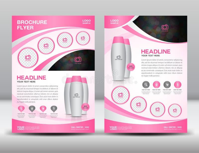 Plantilla rosada de la disposición de diseño del aviador del folleto del negocio de tamaño A4 libre illustration