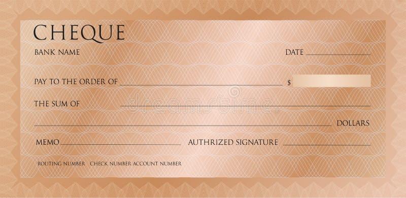 Plantilla rosada de lujo del cheque del oro con el guilloquis del vintage Control de bronce, modelo de la plantilla del talonario stock de ilustración