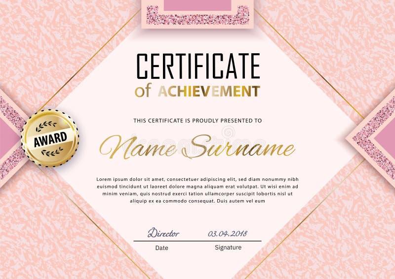 Plantilla rosada del certificado Mármol rosado de lujo con el cuadrado del oro para el cosmético del departamento, parfume, tiend libre illustration