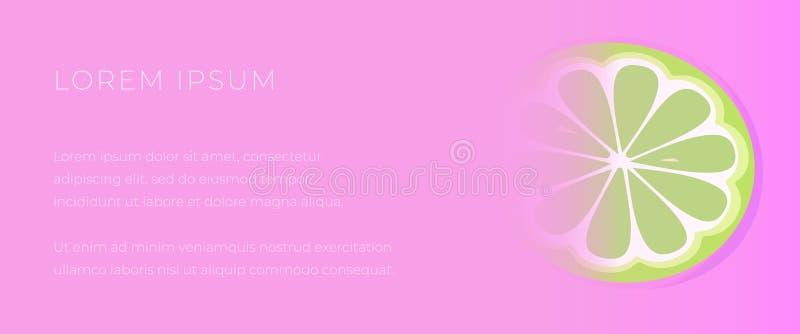 Plantilla rosada para la bandera de la web con una rebanada de cal ilustración del vector