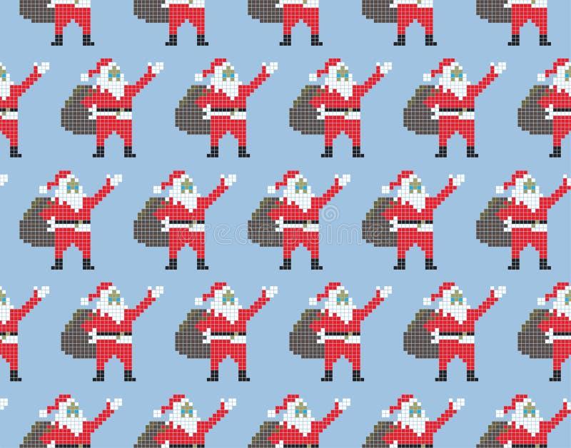 Plantilla Santa Claus inconsútil de la Navidad Santa Claus en estilo del pixel en un fondo azul Ilustración del vector stock de ilustración