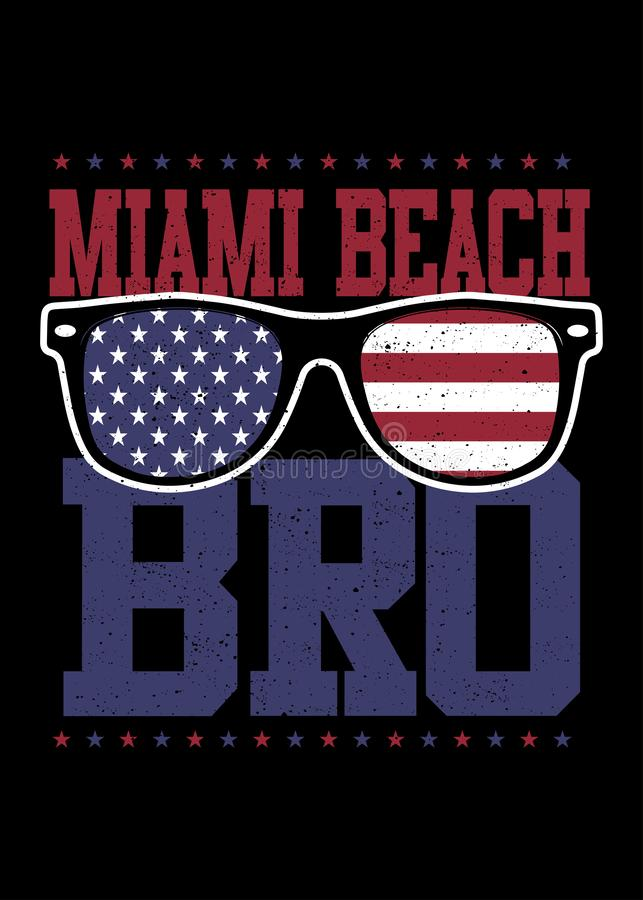 Miami beach american glasses land of freedom 4th of july independence vector illustration