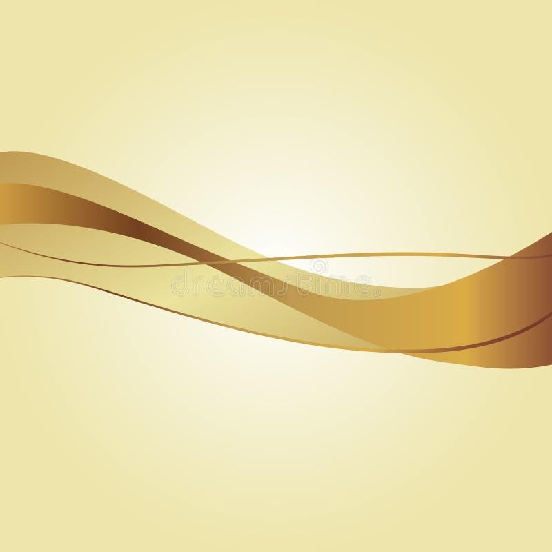 Plantilla simple blanca con las ondas de oro Fondo ligero con la cinta ondulada de bronce del tonelero de oro Metal o corrientes  ilustración del vector
