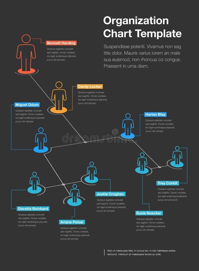 Plantilla simple de la carta de la jerarquía de la organización de la compañía con el lugar para su contenido - versión oscura ilustración del vector
