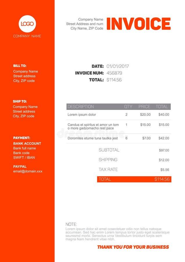 Plantilla simple de la factura stock de ilustración