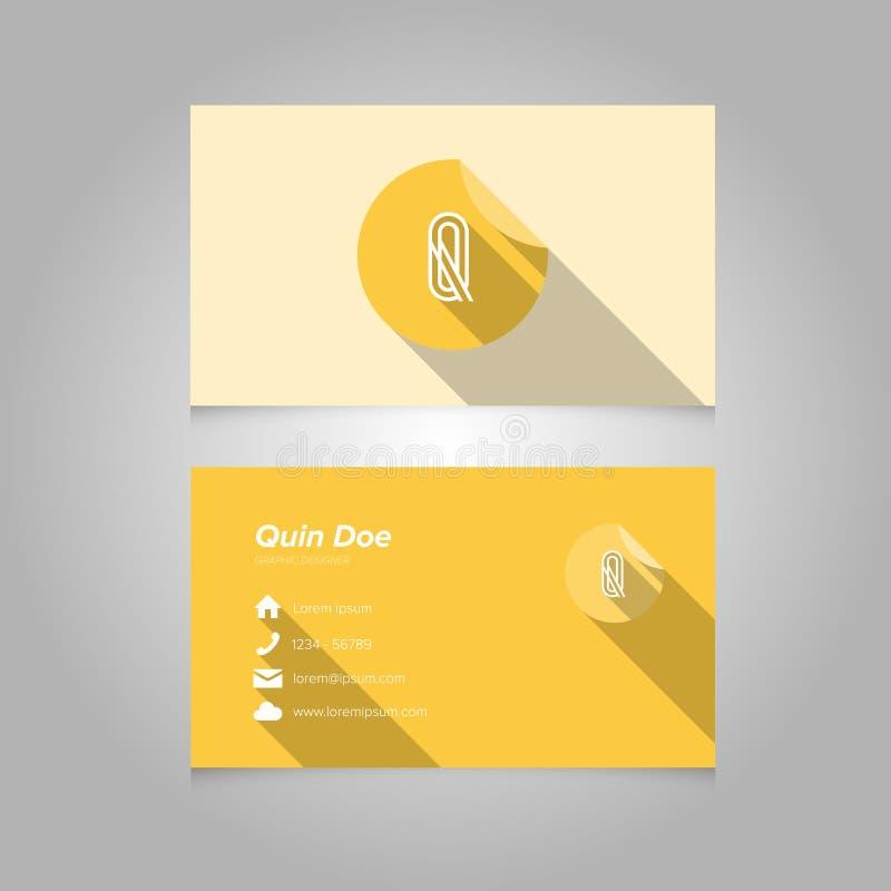 Plantilla simple de la tarjeta de visita con la letra Q del alfabeto fotografía de archivo libre de regalías