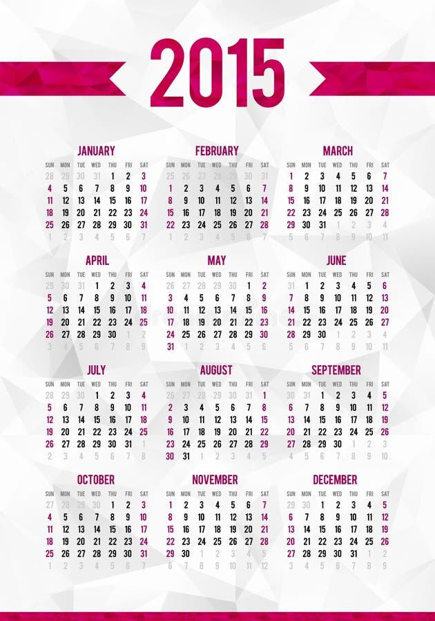 Plantilla Simple Del Calendario De 2015 Años En Extracto Ilustración ...
