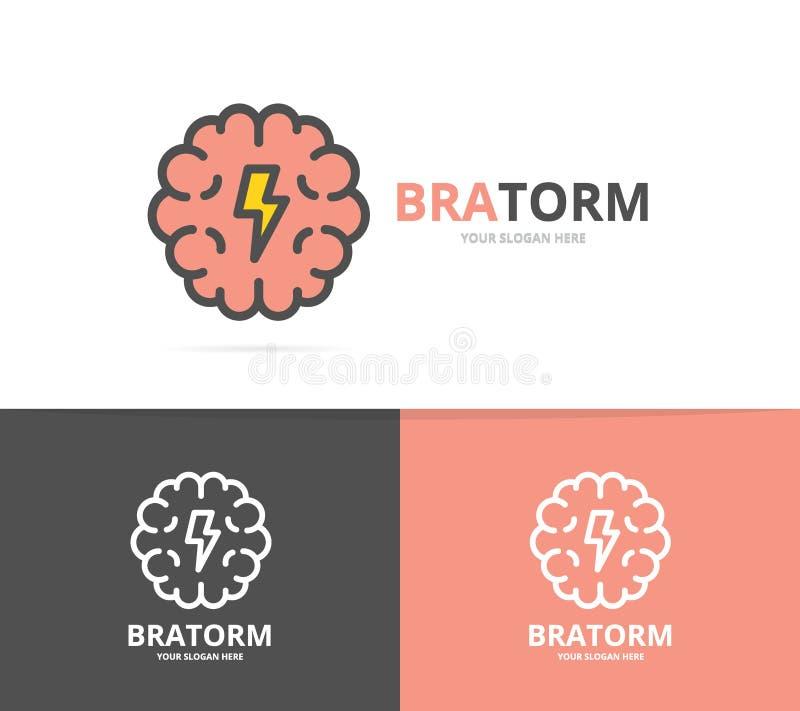 Plantilla simple del diseño del logotipo del cerebro y de la mente Ejemplo del vector del símbolo y de la muestra libre illustration