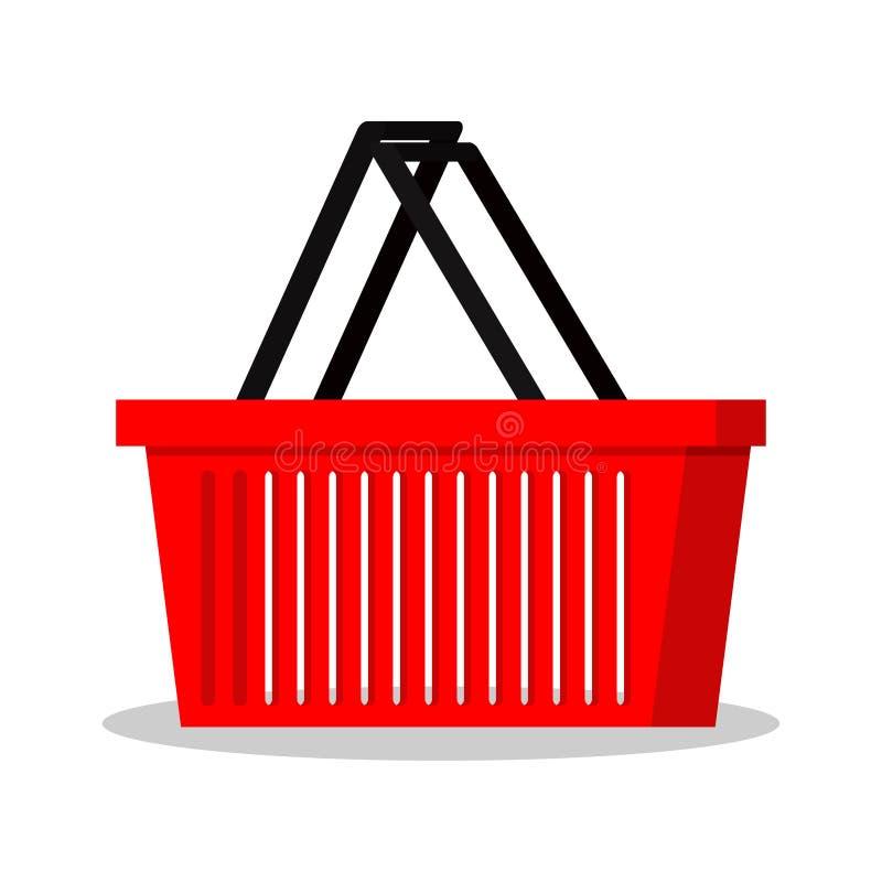 Plantilla simple del icono plano rojo de la cesta de la tienda del supermercado del estilo de la cesta que hace compras ilustración del vector
