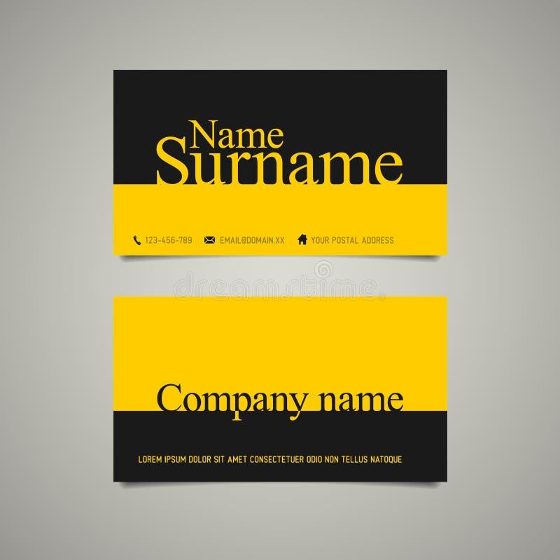 Plantilla simple moderna de la tarjeta de visita con nombre conocido stock de ilustración