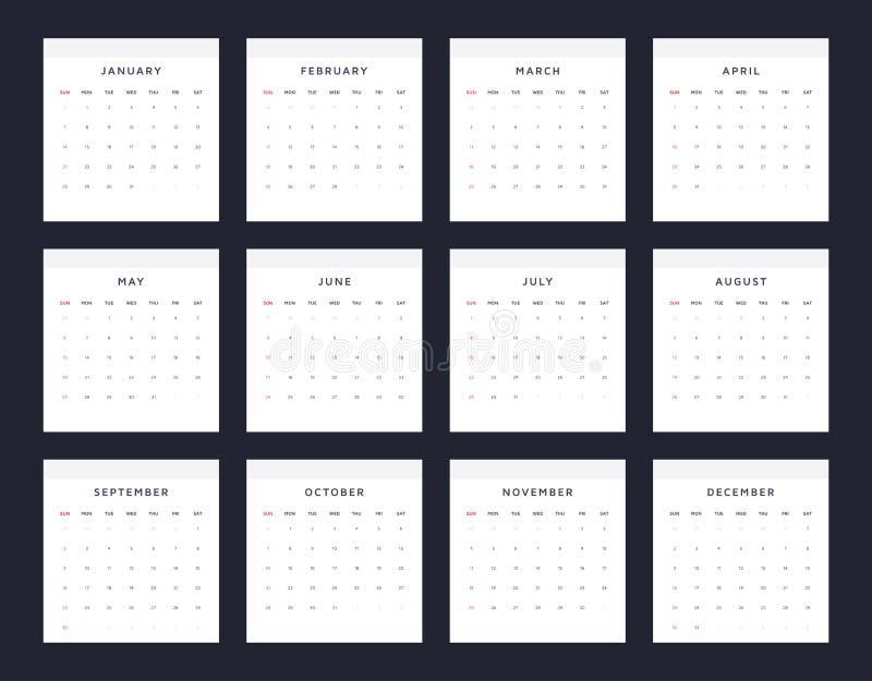 Plantilla simple y limpia del vector de 2018 calendarios stock de ilustración