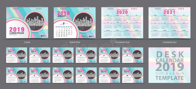 Plantilla 2019, sistema del calendario de escritorio del sistema de 12 meses, calendario 2019, 2020, 2021 ilustraciones, planific ilustración del vector