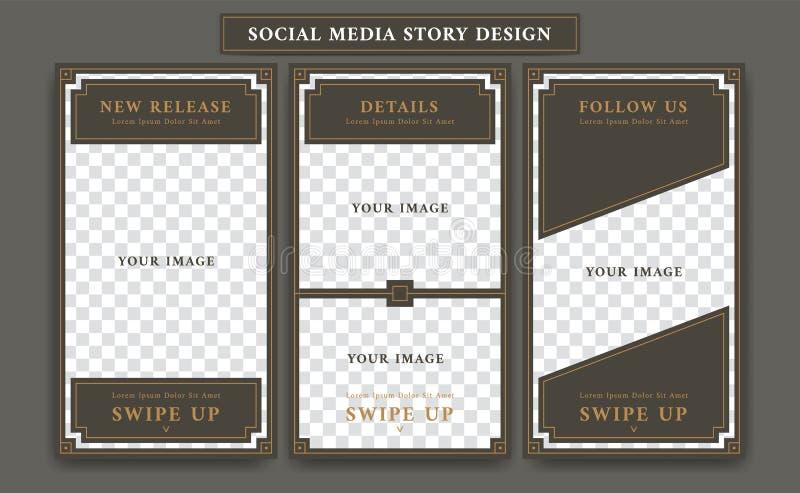Plantilla social del diseño de los medios de la historia Editable de Instagram en el estilo retro del marco del artdeco del vinta stock de ilustración