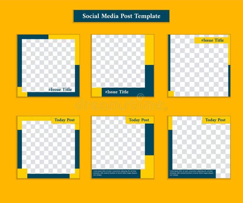 Plantilla social del poste de los medios con estilo deportivo y formal casual en la plantilla amarilla y de los azules marinos de libre illustration