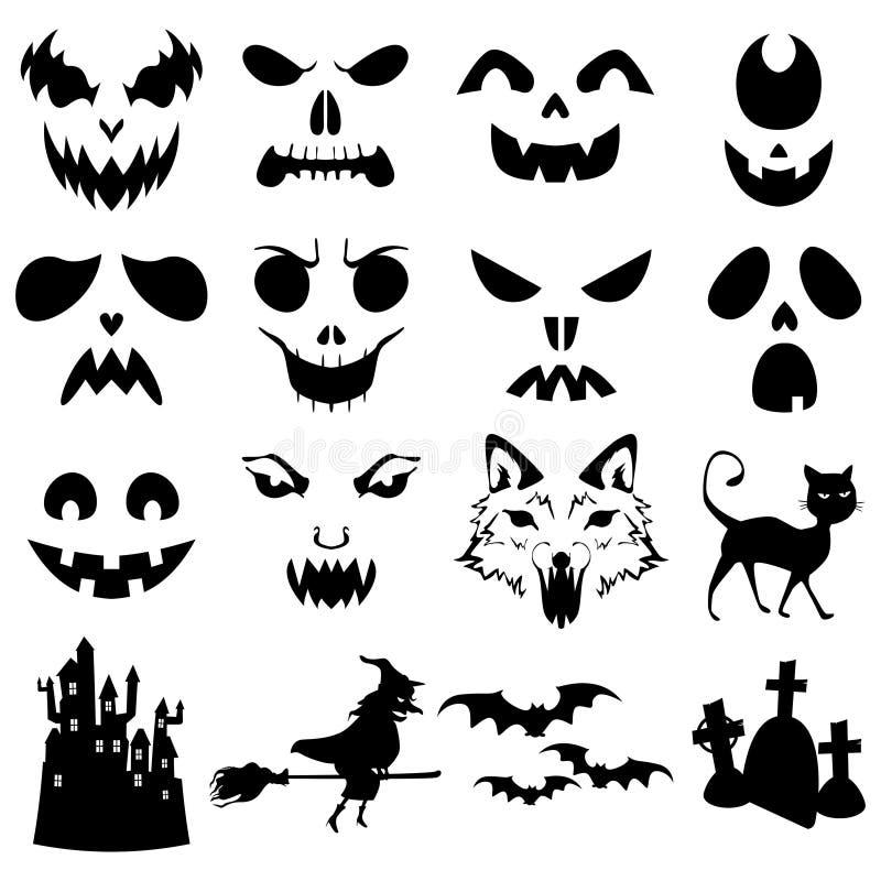 Plantilla tallada calabazas de las siluetas de Halloween stock de ilustración