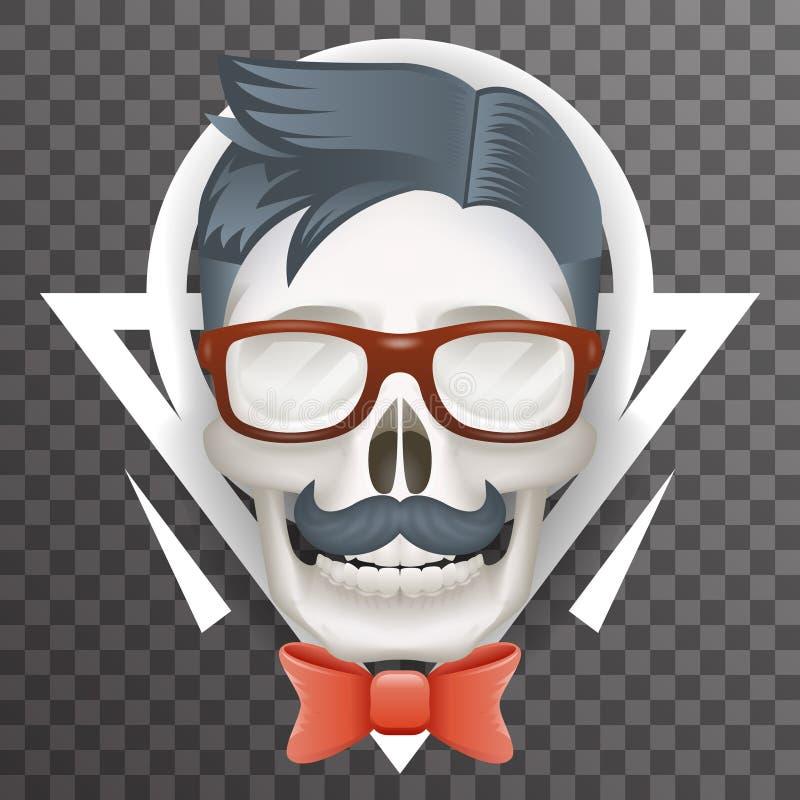 Plantilla transparente del icono del fondo del cráneo del friki del inconformista de la moda del cartel del bigote del arco del c stock de ilustración