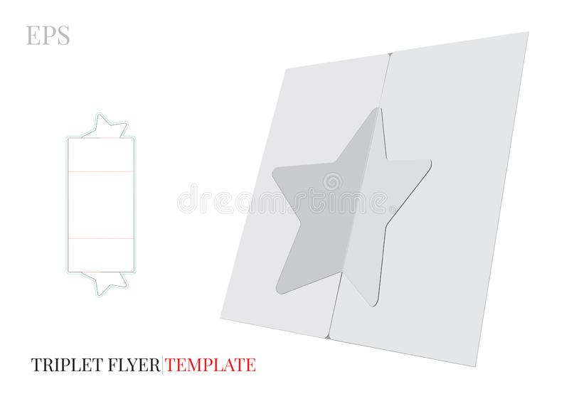 Plantilla triple del folleto de la estrella, vector con las líneas cortado con tintas/del laser de corte Blanco, espacio en blanc ilustración del vector
