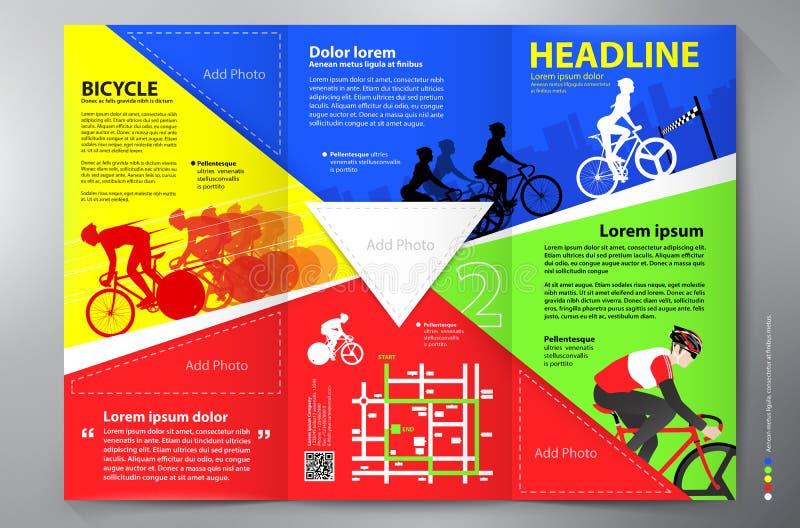 Plantilla triple del vector del diseño del prospecto del folleto stock de ilustración