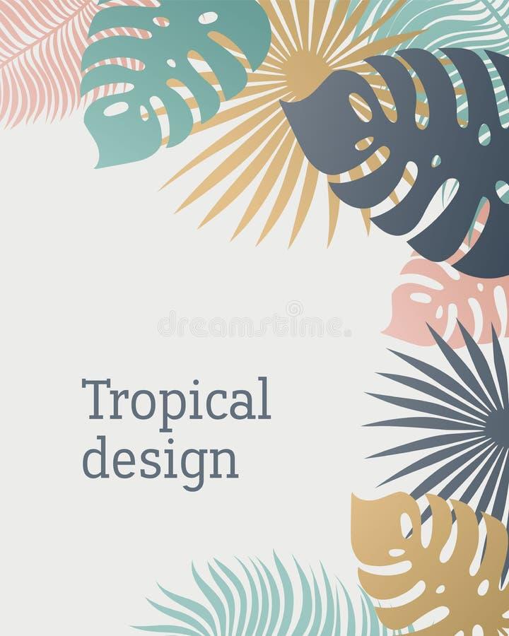 Plantilla Tropical De La Hoja En Colores En Colores Pastel Diseño ...