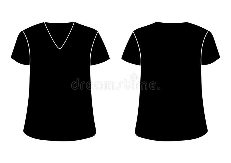 Plantilla unisex de la camiseta del cuello en v del vector Los lados traseros delanteros imitan para arriba Negro aislado en blan stock de ilustración