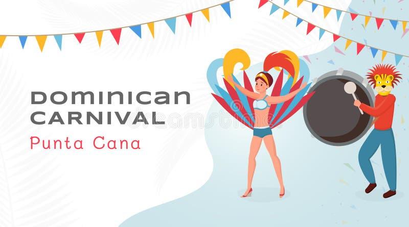 Plantilla vectorial de banderas planas de festival dominicano. Bailarina con hermosos disfraces y tamborilero con personajes de ca libre illustration