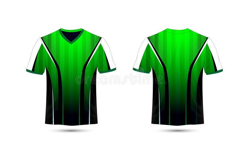 Plantilla verde, blanca y negra del diseño de la camiseta del e-deporte de la disposición stock de ilustración