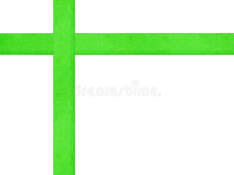 Plantilla verde de la cruz de la cinta aislada fotos de archivo