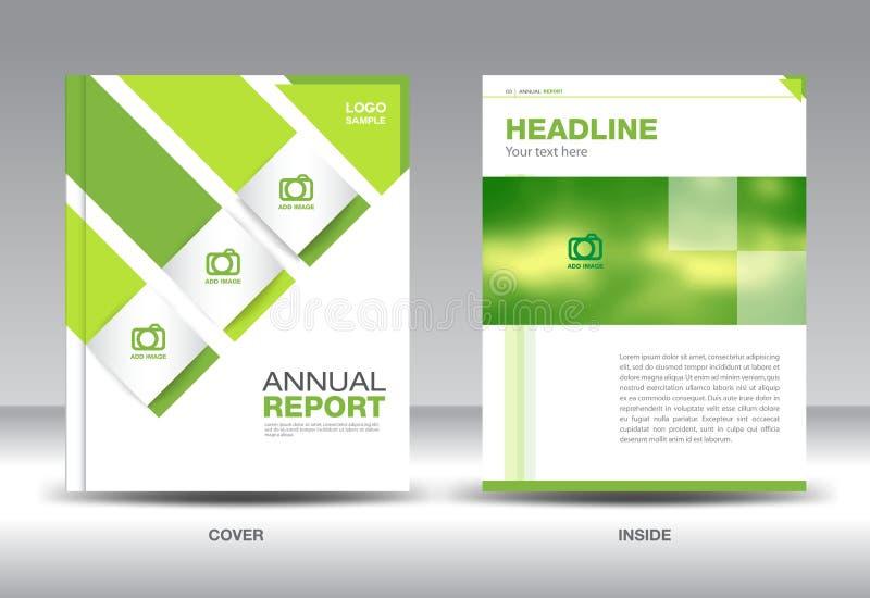 Plantilla verde de la disposición del informe anual, aviador del folleto, diseño verde de la cubierta stock de ilustración