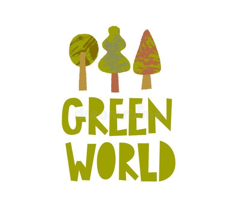 Plantilla verde del cartel del vector del mundo ilustración del vector