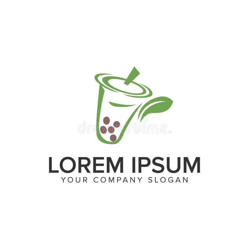 Plantilla verde del concepto de diseño del logotipo de la bebida Completamente editable ilustración del vector