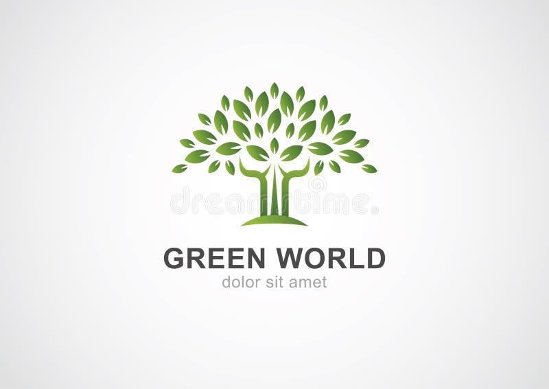 Plantilla verde del diseño del logotipo del vector del árbol del círculo Jardín o ecología ilustración del vector