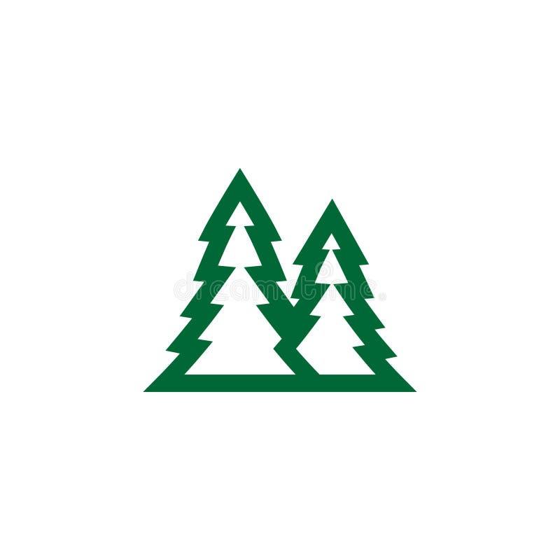 Plantilla verde del diseño del icono del logotipo del árbol de pino stock de ilustración