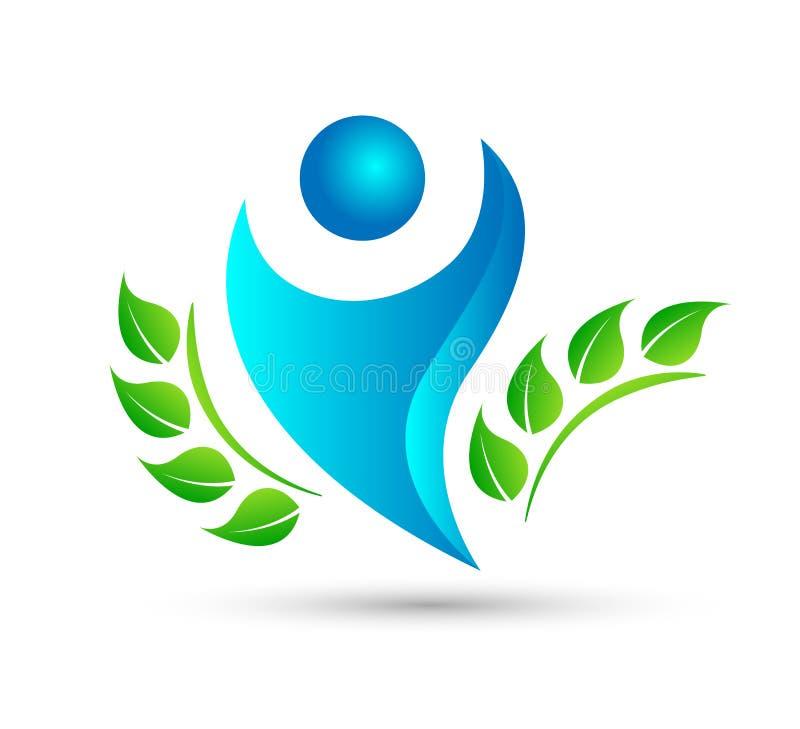 Plantilla verde del logotipo del icono del árbol de la hoja de la gente ilustración del vector