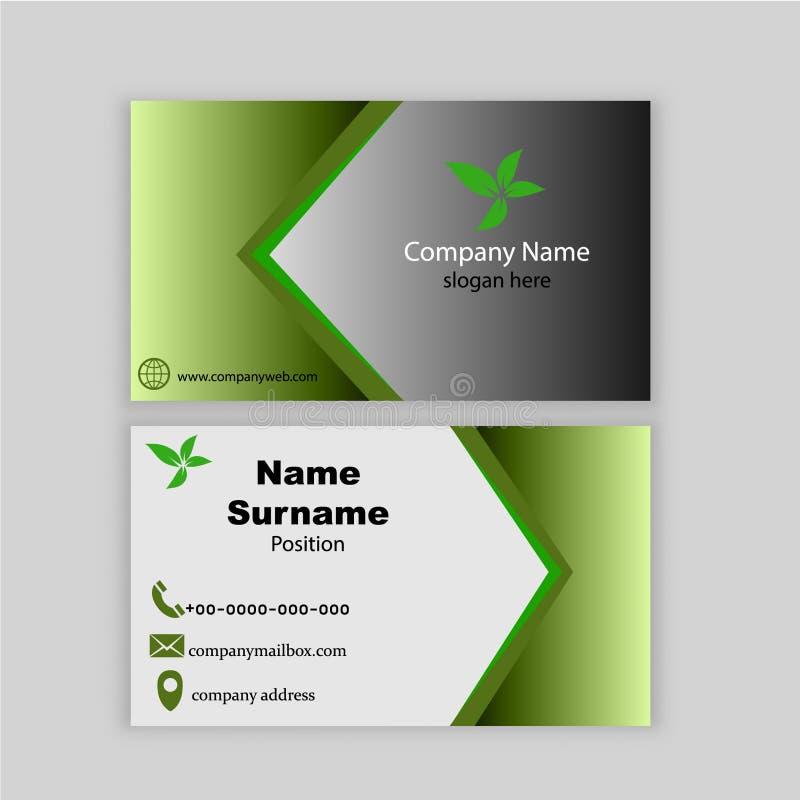 Plantilla verde hermosa y elegante de la tarjeta de visita ilustración del vector