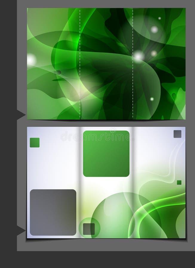 Plantilla verde para el folleto de publicidad. ilustración del vector