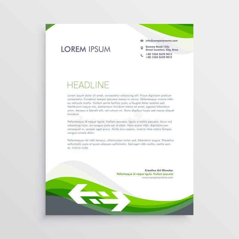 Plantilla verde y gris elegante del diseño del papel con membrete ilustración del vector