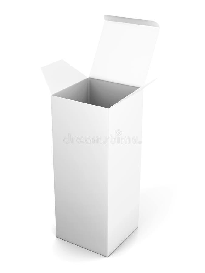 Plantilla vertical abierta de la caja de cartón del espacio en blanco que se coloca en el CCB blanco ilustración del vector