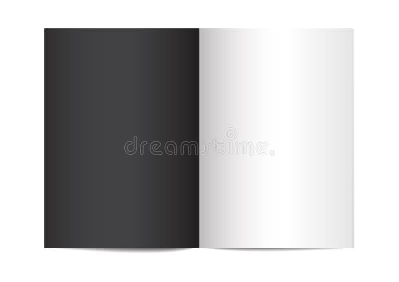 Plantilla vertical abierta de la revista, del folleto o del cuaderno en el fondo blanco ejemplo 3d para su dise?o Mofa del vector stock de ilustración