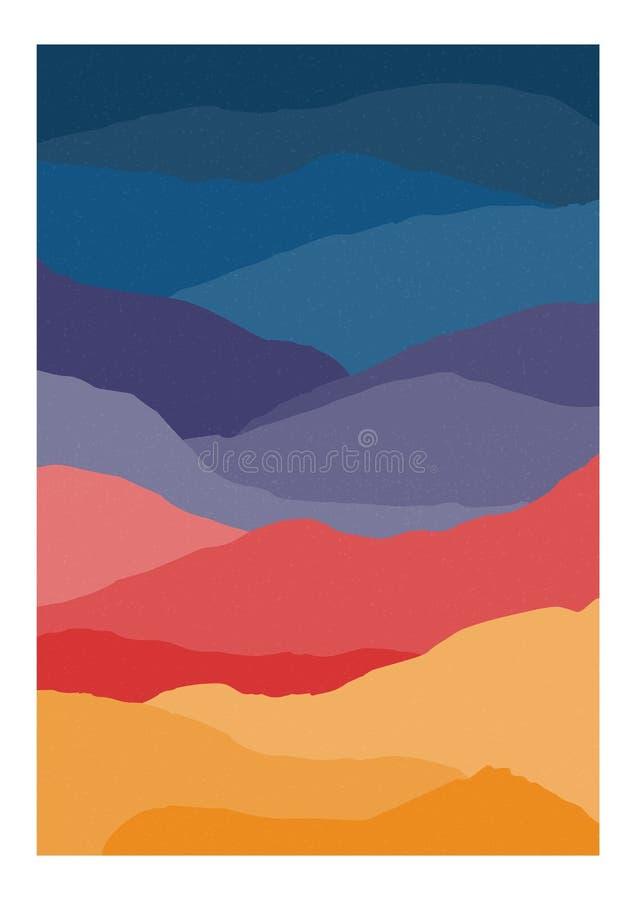 Plantilla vertical colorida del fondo o de la tarjeta con las ondas del extracto o las capas de colores brillantes Contexto con e ilustración del vector