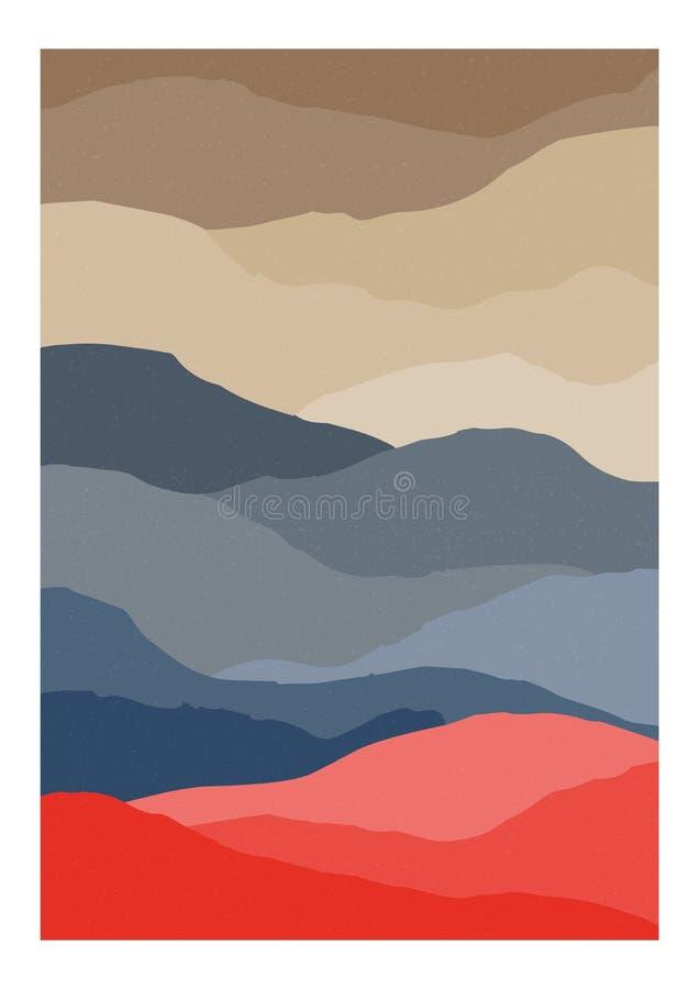 Plantilla vertical decorativa del fondo o de la tarjeta con textura ondulada o rayada abstracta Contexto o paisaje con las colina libre illustration