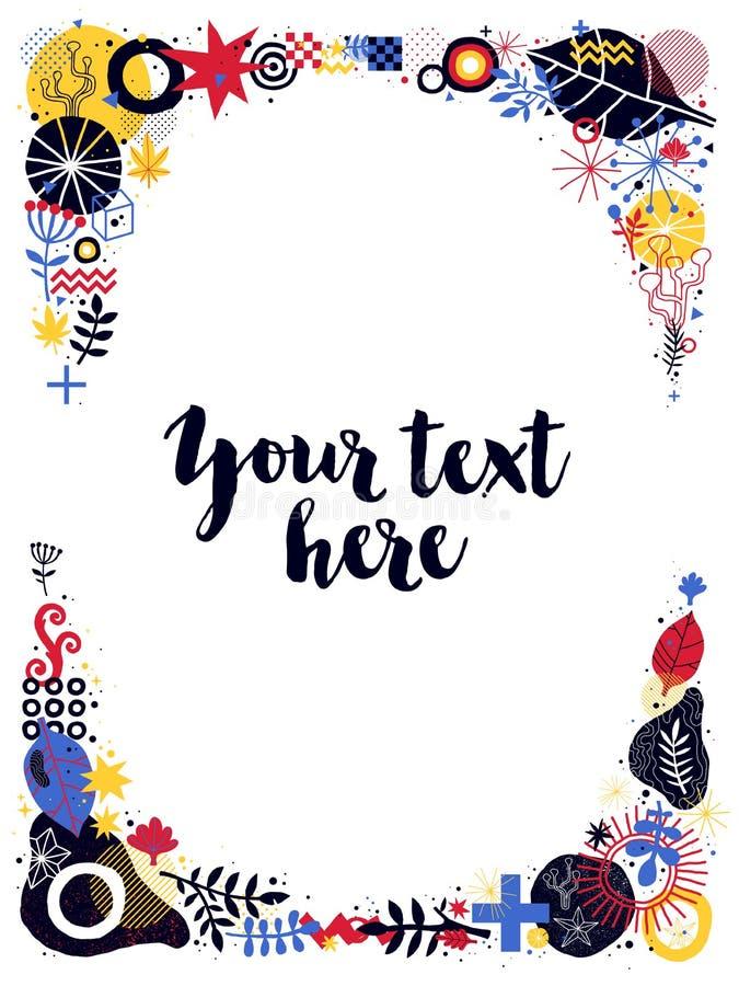 Plantilla vertical del marco de texto con los elementos florales y abstractos Puede ser utilizado para las impresiones, los carte libre illustration