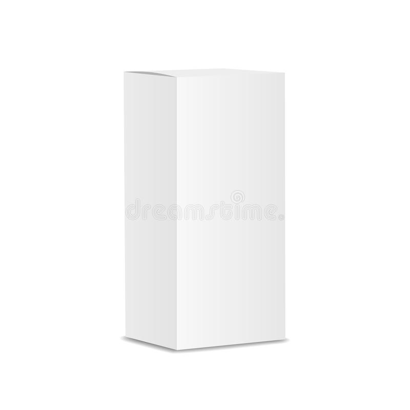 Plantilla vertical en blanco de la caja del papel o de cartón ilustración del vector