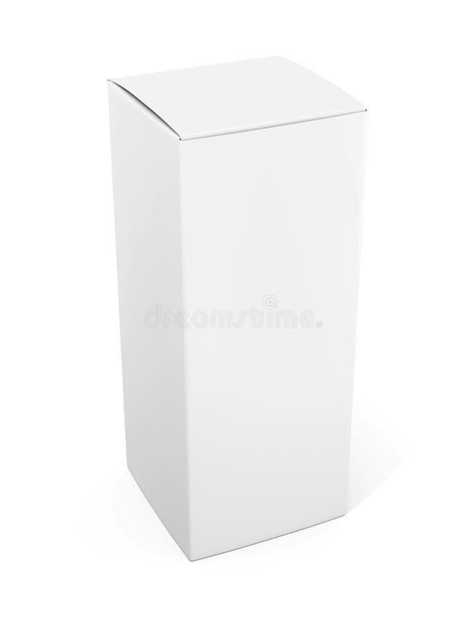 Plantilla vertical en blanco de la caja del papel o de cartón que se coloca en blanco ilustración del vector