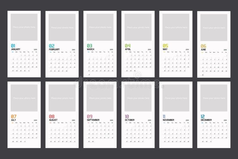Plantilla vertical mínima moderna del planificador del calendario para 2018 Plantilla editable del diseño del vector stock de ilustración