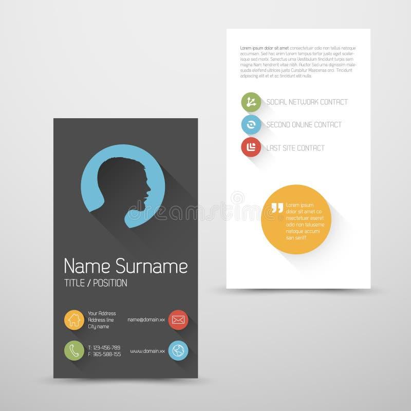 Plantilla vertical moderna de la tarjeta de visita con la interfaz de usuario plana ilustración del vector